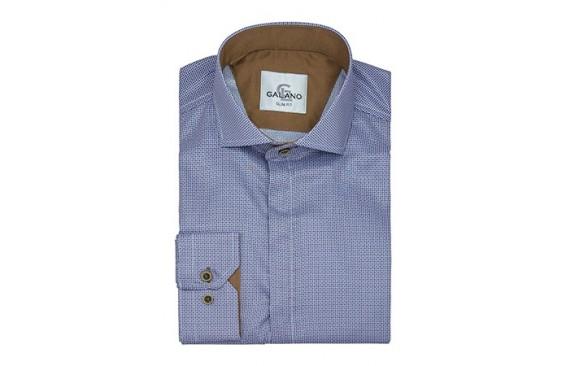 Рубашка голубая в мелкий рисунок с коричневой отделкой