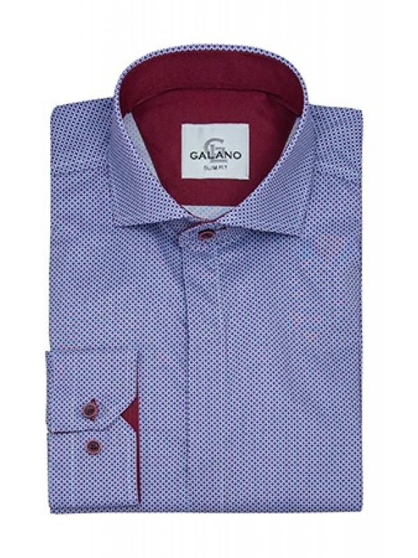 Рубашка в синий рисунок с  бордовой отделкой