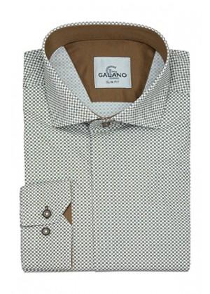Рубашка белая в рисунок и с коричневой отделкой