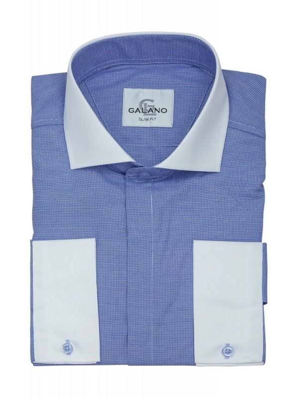 Рубашка голубая с белым воротником