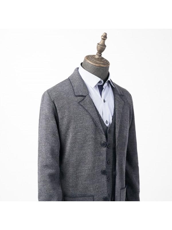 Пиджак сине-серый трикотажный