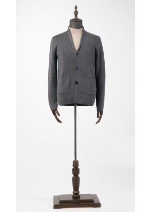 Пиджак трикотажный серый